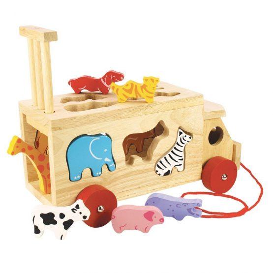 Animal Shape Lorry – Wooden Shape Sorter Pull Along Toy