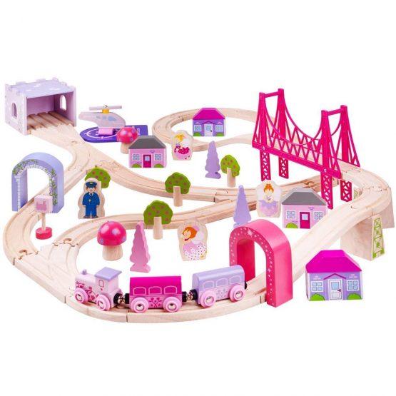 Bigjigs Rail Wooden Fairy Town Train Set – 75 Play Pieces