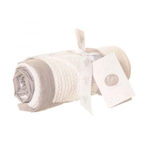 Ziggle White Cellular Blanket with Grey Trim