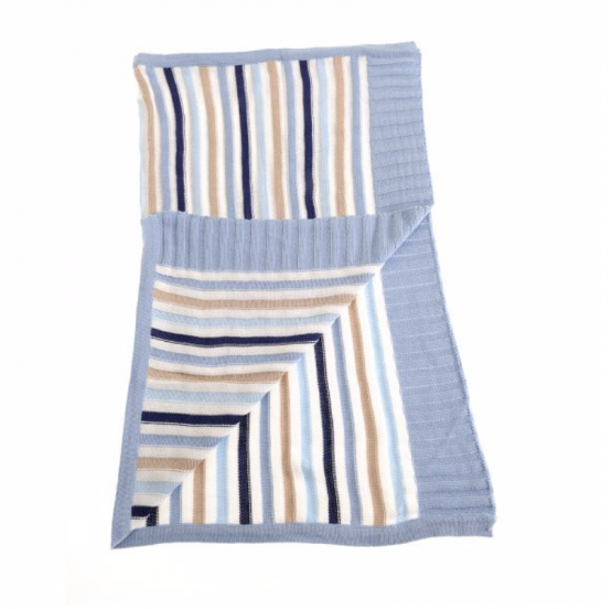 Blue and Beige Striped Blanket