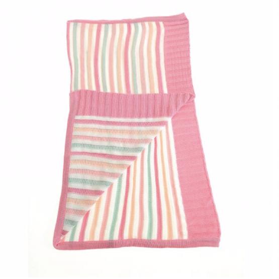 Pink and Green Stripe Ziggle Blanket