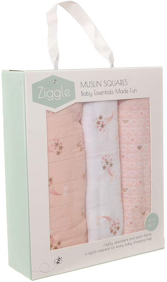 Zippy Rose Gold Pink Metallic Muslin Cloth Squares (Large, Thick, Absorbent, Breathable Cotton)