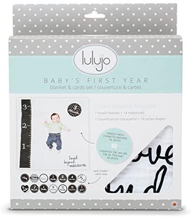 Lulujo Milestone Swaddle Blanket and Card Set, Loved Beyond Measure