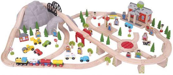 Bigjigs Rail Wooden Mountain Railway Set – 112 Play Pieces