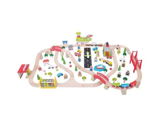 Bigjigs Rail Wooden Transport Train Set – 125 Play Pieces
