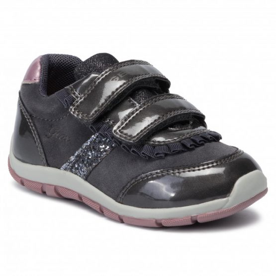 Geox Girls Shaax Grey and pink Trainer Sizes 23,24,25 and 27