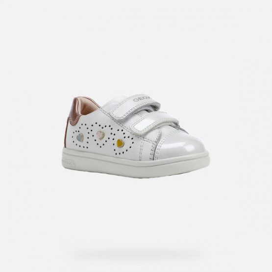 Geox Girls DJ Rock White Trainer Sizes 23,24 and 27