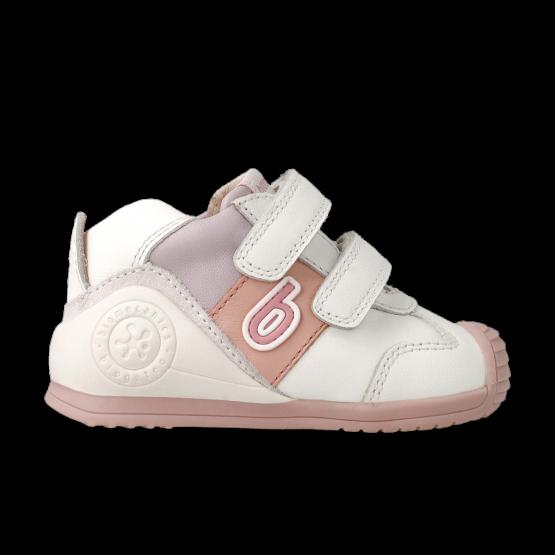Biomecanics Girls White and Pink Leather Trainer 212124B